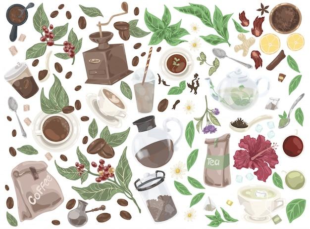 Insieme di doodle di tè e caffè.