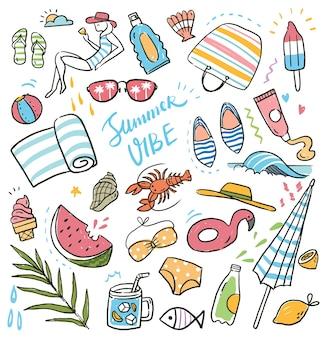 Insieme di doodle di vacanze estive