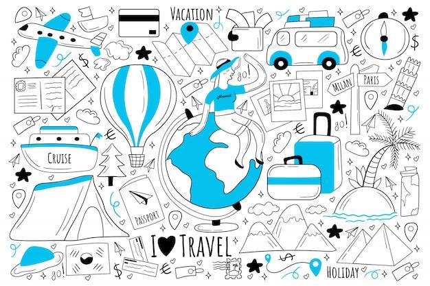 Insieme di doodle di viaggio