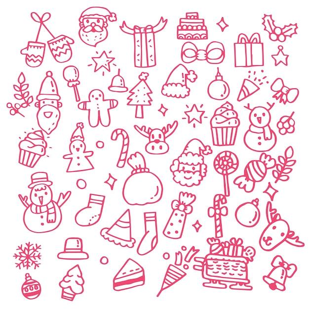 Insieme di doodle disegnato a mano di oggetti di natale.