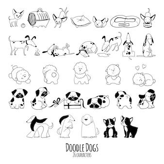 Insieme di doodle disegnato a mano di personaggi di cani nello schizzo