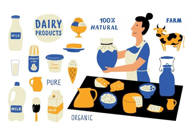 Insieme di doodle divertente di prodotti lattiero-caseari. milkwoman, venditore del mercato alimentare. disegnato a mano sveglio del fumetto