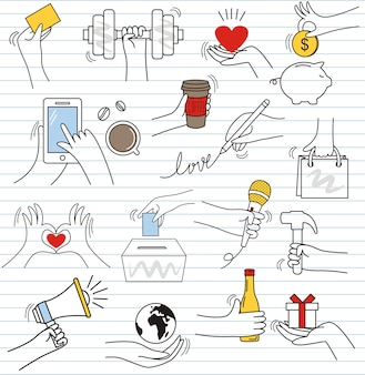 Insieme di doodle variopinto su fondo di carta. elementi di gesti di mano di scarabocchio