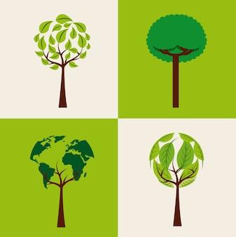 Insieme di ecologia di alberi forma ambiente diverso