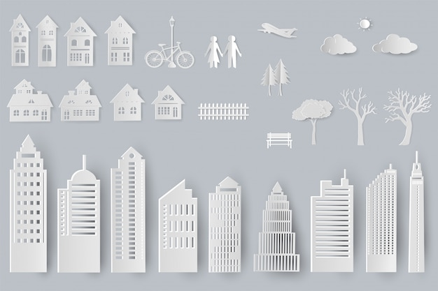 Insieme di edifici, case, alberi isolati oggetti per la progettazione in stile taglio carta