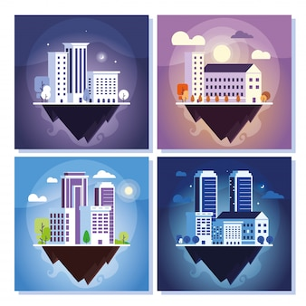 Insieme di edifici di appartamenti e uffici, paesaggio urbano sul terreno