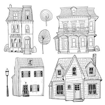 Insieme di edifici disegnati a mano