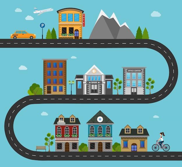 Insieme di edifici in città