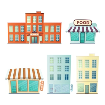 Insieme di edifici isolati su uno sfondo bianco. scuola, negozi, grattacieli.