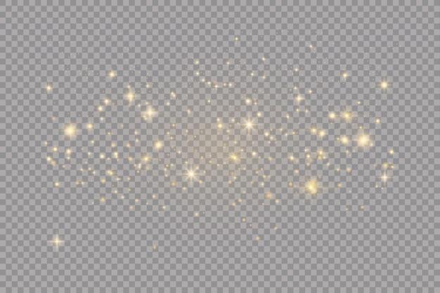 Insieme di effetti di luci incandescente d'oro isolato su trasparente