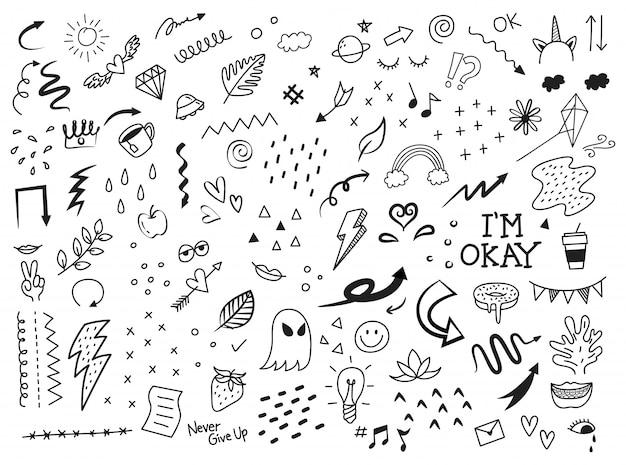 Insieme di elementi astratti di doodle