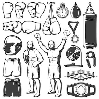 Insieme di elementi bianco nero di pugilato con i trofei dell'abbigliamento e dell'attrezzatura di sport del combattente isolati