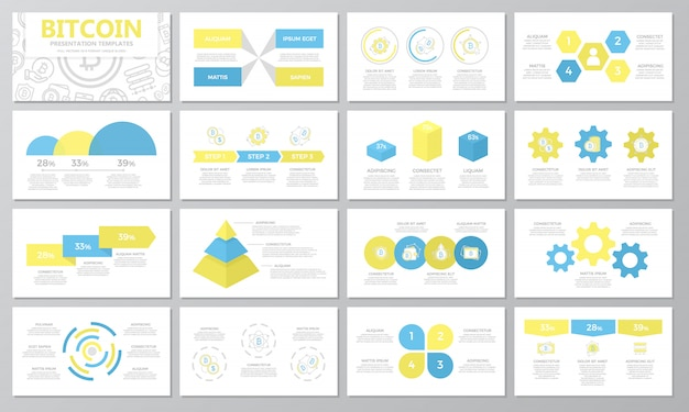 Insieme di elementi bitcoin per diapositive modello di presentazione multiuso.