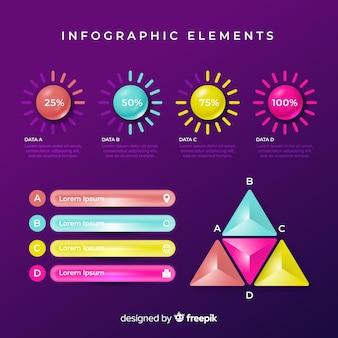 Insieme di elementi colorati infografica