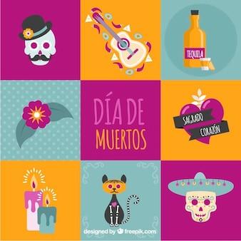 Insieme di elementi colorati messicani