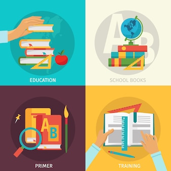 Insieme di elementi colorato dei libri di scuola
