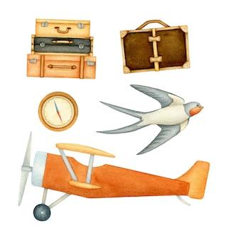 Insieme di elementi con aereo, bagaglio, rondine e bussola