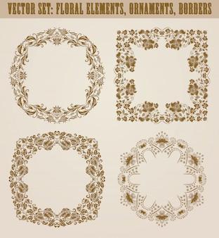 Insieme di elementi decorativi disegnati a mano, bordo, cornice con elementi floreali per il design. decorazione della pagina in stile vintage