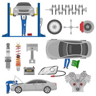 Insieme di elementi decorativo di servizio dell'automobile con gli strumenti di lavoro automatici della gru dei pezzi di ricambio dei meccanici isolati