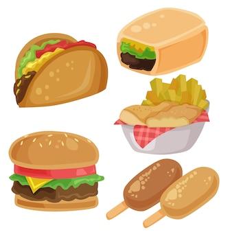Insieme di elementi dei chip delle fritture del burrito dell'hamburger di clipart di vettore dell'alimento spazzatura