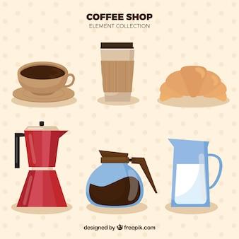Insieme di elementi del caffè piatto