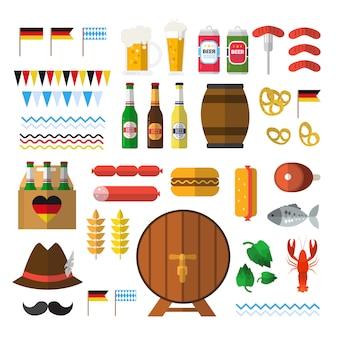 Insieme di elementi del festival della birra per l'oktoberfest