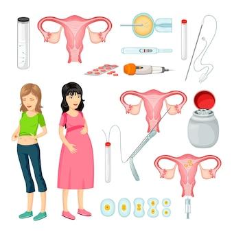 Insieme di elementi del fumetto di inseminazione artificiale