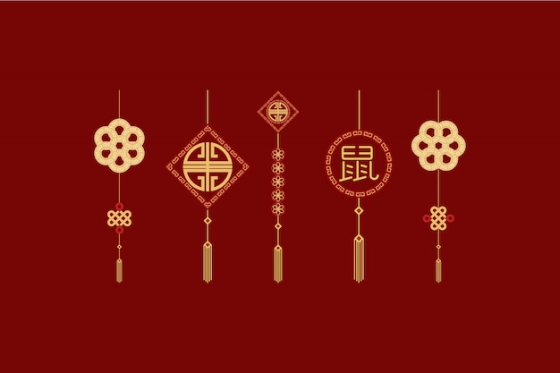 Insieme di elementi del modello del nuovo anno cinese di imlek