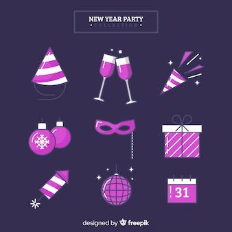 Insieme di elementi del partito viola nuovo anno 2019