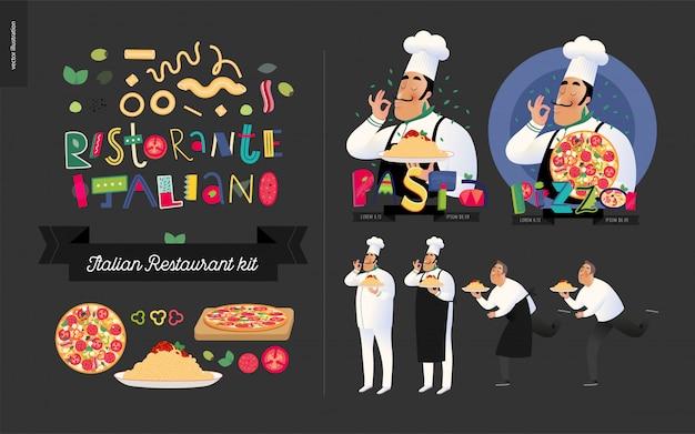 Insieme di elementi del ristorante italiano