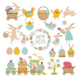 Insieme di elementi dell'annata del tema di pasqua. conigli, uova, nastri e altri simboli