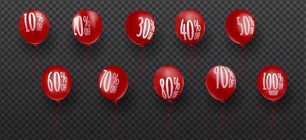 Insieme di elementi dell'etichetta di prezzo di sconto dell'aerostato 3d