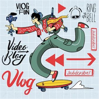 Insieme di elementi dell'illustrazione di vlogging disegnato a mano