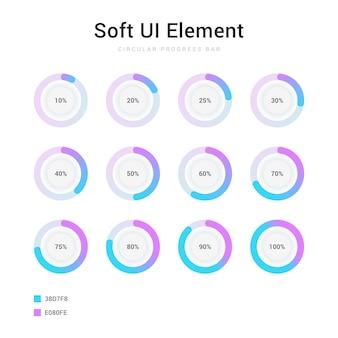 Insieme di elementi dell'interfaccia utente soft barra di avanzamento percentuale cerchio