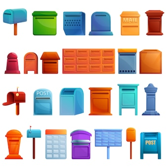 Insieme di elementi della cassetta postale, stile cartoon