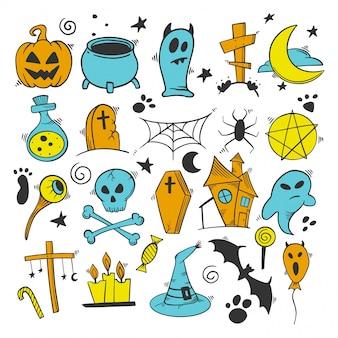 Insieme di elementi della decorazione di halloween. zucca e calderone