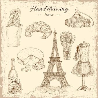 Insieme di elementi della francia di disegno a mano