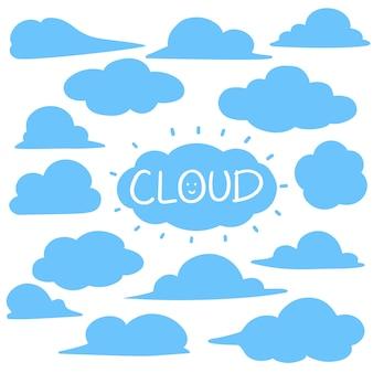 Insieme di elementi della nuvola stile disegnato a mano