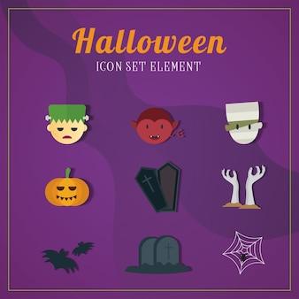 Insieme di elementi delle illustrazioni dell'icona di halloween due.