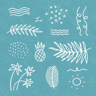 Insieme di elementi di arredamento astratto estate con onde, foglie di palma, punti per t-shirt, stampe, cartoline. disegno lineare disegnato a mano in stile doodle su sfondo blu con texture.