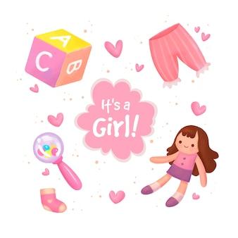 Insieme di elementi di bambino doccia per ragazza