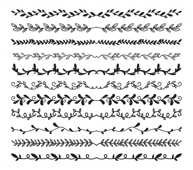 Insieme di elementi di bordi disegnati a mano