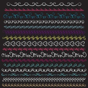 Insieme di elementi di bordi vintage. illustrazione vettoriale