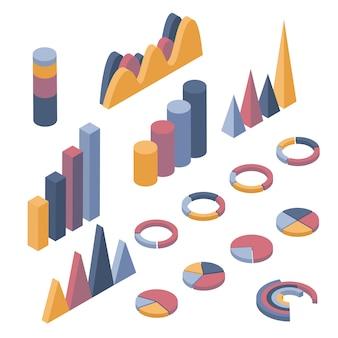 Insieme di elementi di business, infografica e diagrammi.
