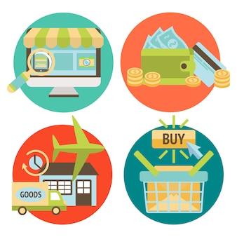 Insieme di elementi di business shopping online
