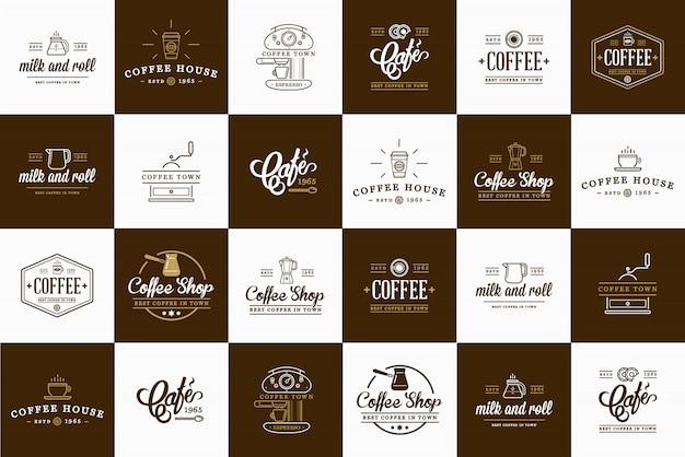 Insieme di elementi di caffè e accessori di caffè
