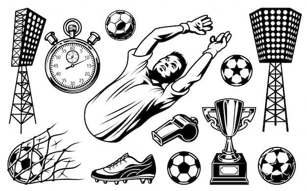 Insieme di elementi di calcio e giocatori