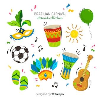 Insieme di elementi di carnevale brasiliano disegnato a mano