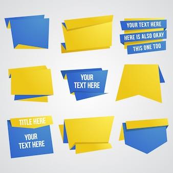 Insieme di elementi di carta dell'insegna e del nastro di progettazione in blu e giallo