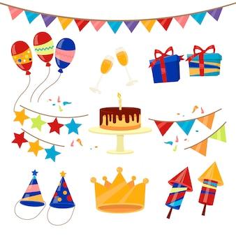 Insieme di elementi di celebrazione di festa di compleanno felice